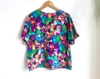 Vintage Watercolor Floral Blouse / 100% Silk Boxy Blouse / Statement Floral Top