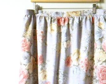 Vintage Romantic Floral Rose Skirt / Secret Garden Midi Skirt / High Waisted Floral / Tapestry Floral Skirt in Lavender
