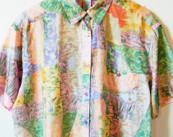 Vintage Silk Abstract Pastel Blouse / Billowy Silk Pastel Button Down / 1980s Silk Boxy Blouse