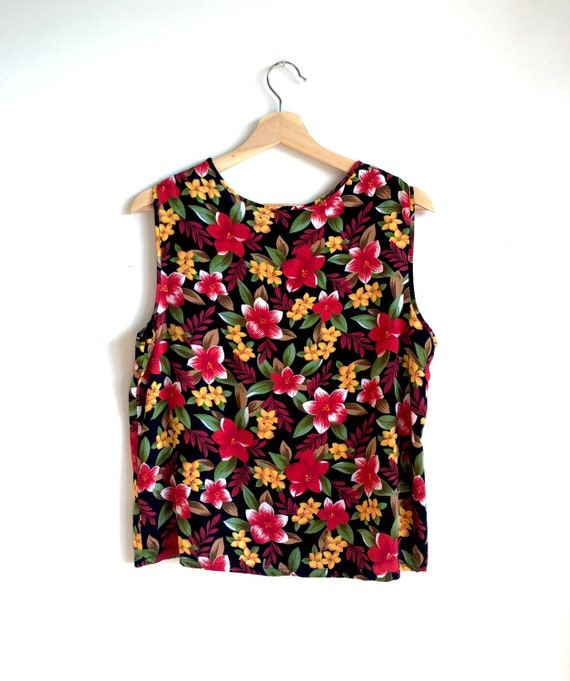 Bold Floral Tank Top / Summer Statement Blouse / D