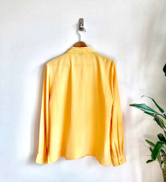 Lemon Yellow Grid Pattern Blouse / Bright Saffron… - image 5