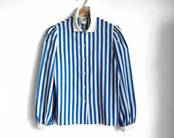 Vintage Bold Blue Striped Blouse / Retro Button Down / Candy Stripe Top / 1970s Statement Blouse