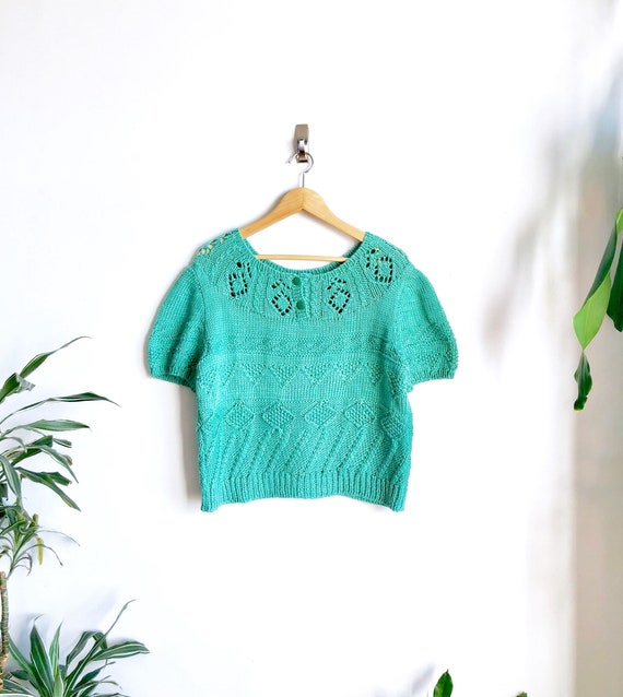 Spearmint Green Vintage Handknit Sweater / Chunky