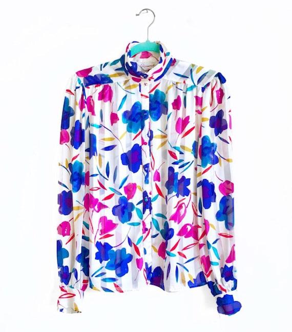 Statement Floral Blouse / Sheer Striped Vintage T… - image 2