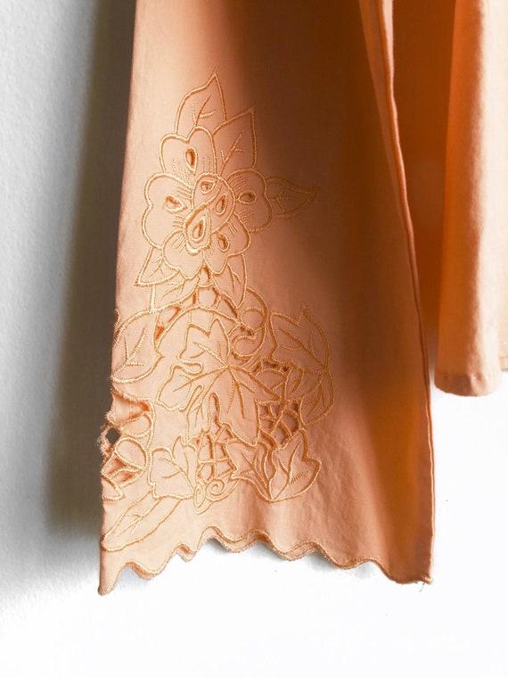 Peach Sorbet Floral Collar Blouse / 90s Vintage Bl
