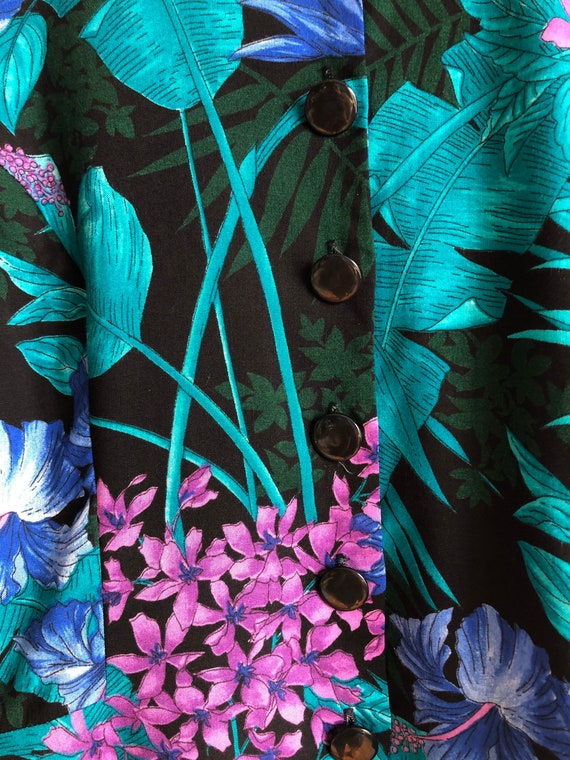 Botanical Vintage Peplum Blouse / Vintage Tropica… - image 2
