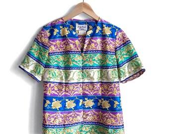 Bold 80s Fleur De Lis Blouse / Vintage Statement Blouse / Colorful Vintage Statement Jacket / 1980s Business Boss