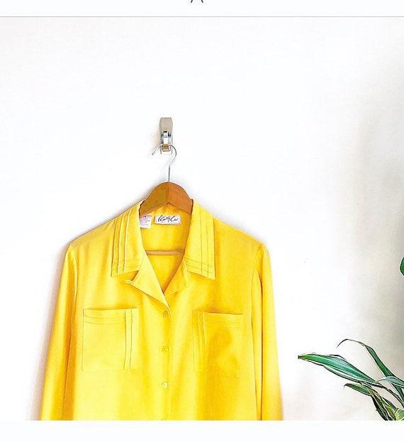 Lemon Yellow Grid Pattern Blouse / Bright Saffron… - image 1