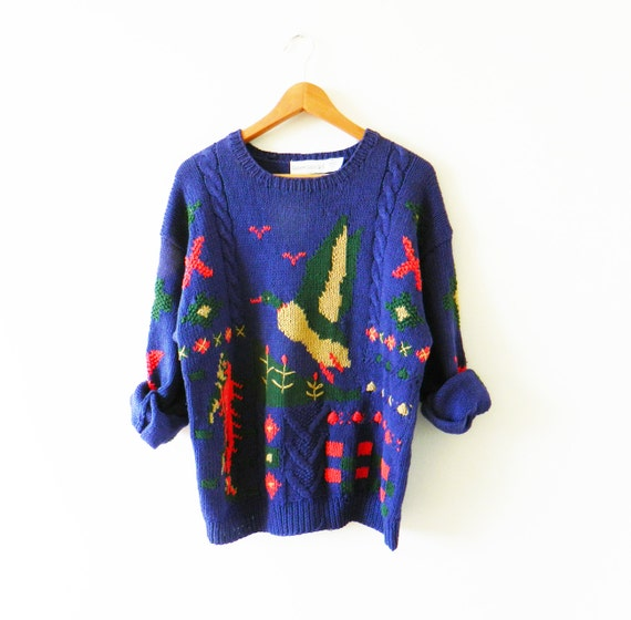 Deep Purple Vintage Hunting Sweater   Colorful Cable Knit  b12814bce