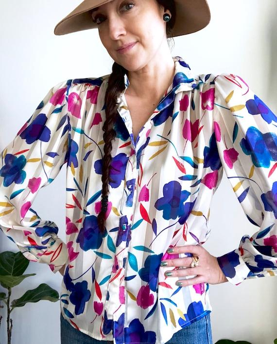 Statement Floral Blouse / Sheer Striped Vintage T… - image 1