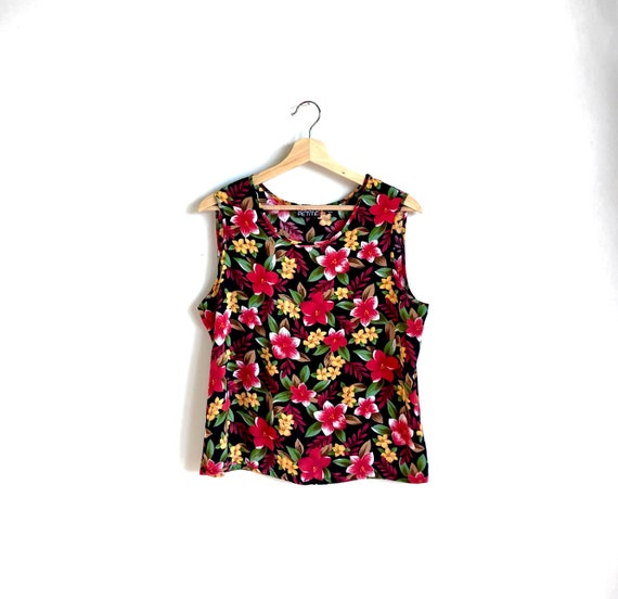 Bold Floral Tank Top / Summer Statement Blouse / … - image 4