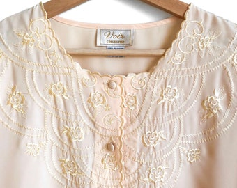Vintage Buttery Yellow Embroidered Floral Blouse