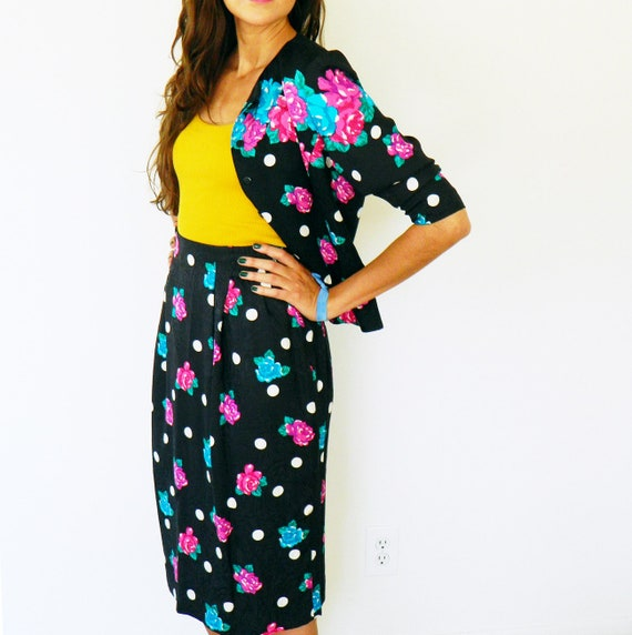 Pure Silk Vintage Polka Dot Skirt and Jacket / Vin