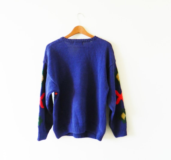Deep Purple Vintage Hunting Sweater   Colorful Cable Knit  31484e0c1