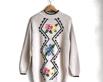 Cozy Vintage Knit Sweater / Floral 80s Pullover Sweater / Slouchy Botanical Sweater / Cottage Core Chic
