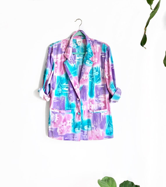 Rainbow Pastel Vintage Blazer / Colorful Brushstro
