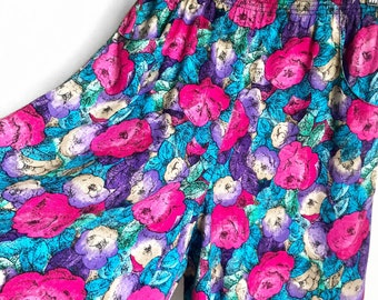 Vintage Floral High Waisted Shirts / Bold Floral Cullottes