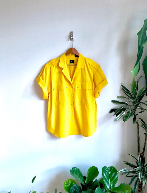 Orange Sherbet Vintage Safari Blouse / Bold Yellow