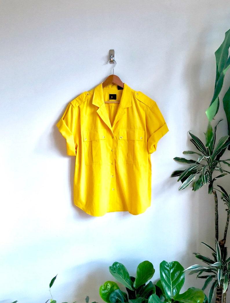 faab02e3e33 Orange Sherbet Vintage Safari Blouse / Bold Yellow Boxy Blouse | Etsy
