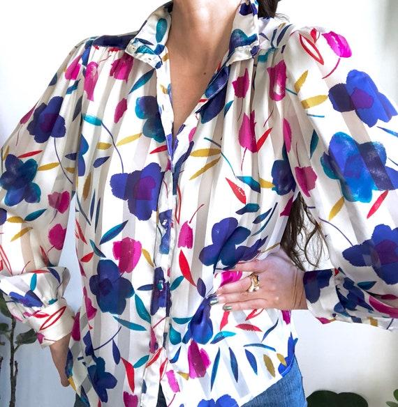 Statement Floral Blouse / Sheer Striped Vintage T… - image 6