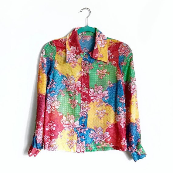 Rainbow Floral Patchwork Blouse / Semi Sheer 1970… - image 1