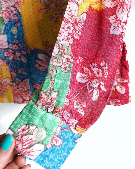 Rainbow Floral Patchwork Blouse / Semi Sheer 1970… - image 3