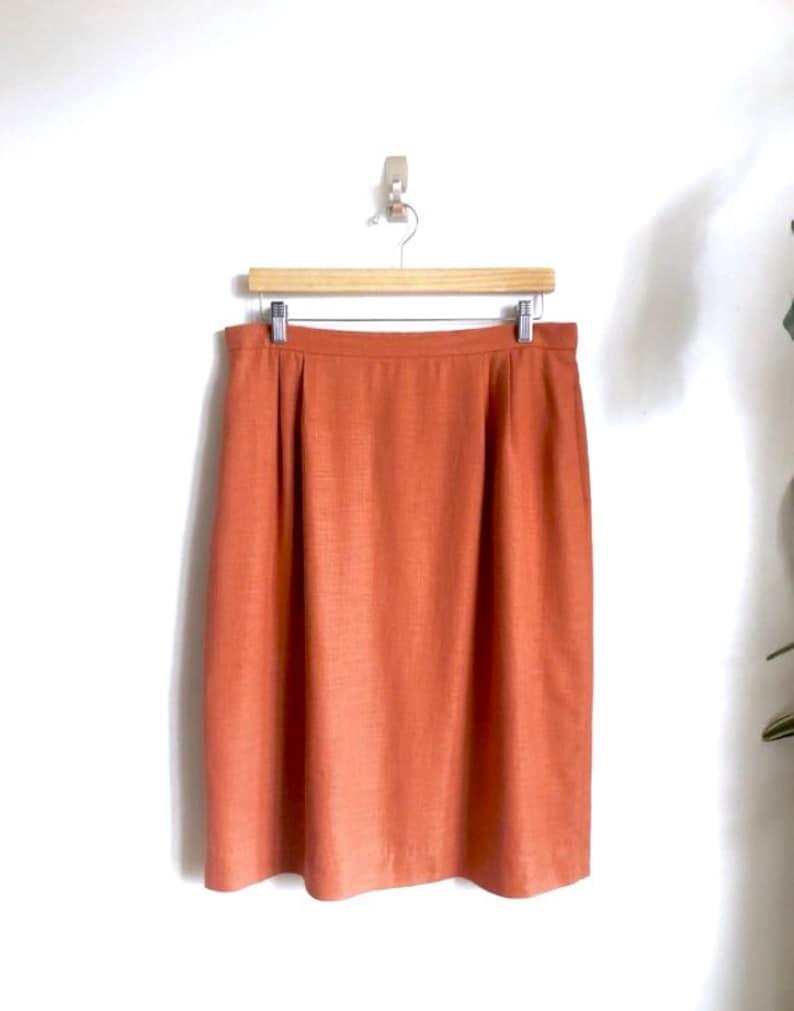 aa627d7ea4 Pumpkin Spice Linen Pencil Skirt / Vintage Linen Skirt in | Etsy
