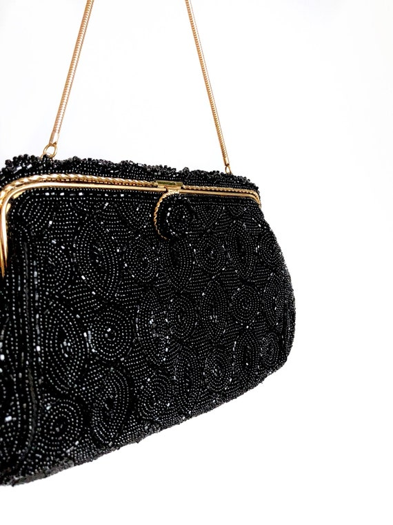 1950s Beaded Evening Bag / Mad Men Chic / Beaded H