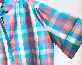 Melon Rainbow Gingham Blouse / Vintage Plaid Blouse / Colorful Summer Plaid Top