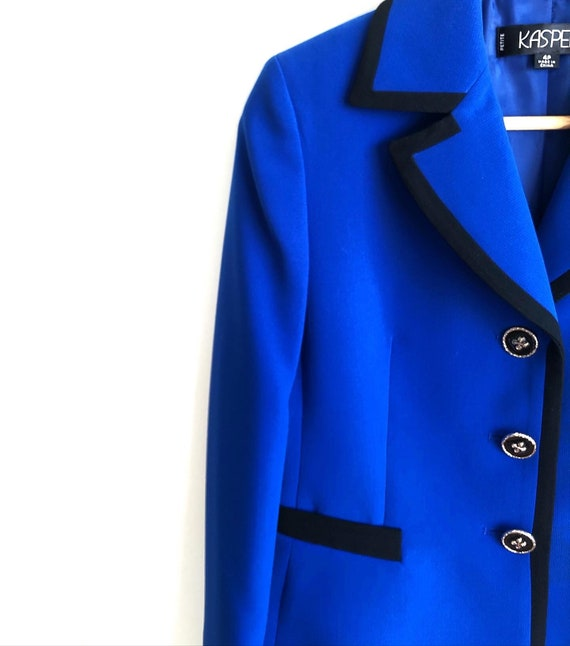 Bold Vintage Statement Blazer / Royal Blue Structu