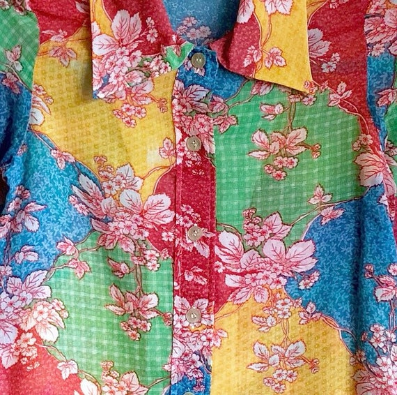 Rainbow Floral Patchwork Blouse / Semi Sheer 1970… - image 2