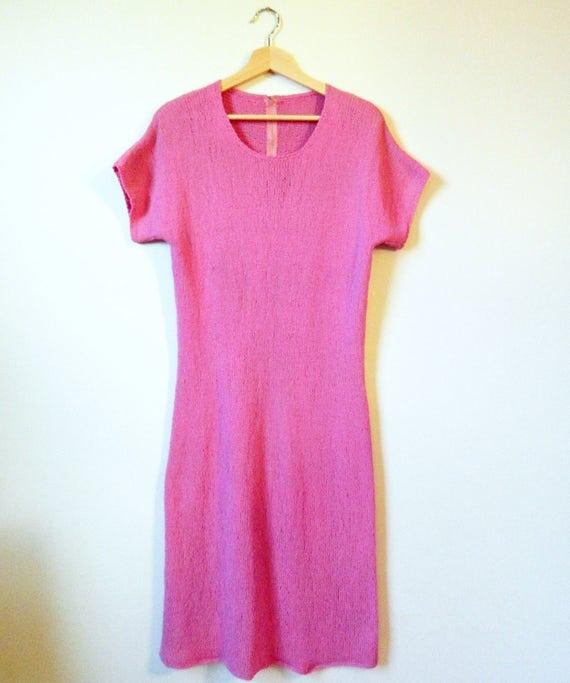 Vintage Radiant Orchid Knit Dress / Boho Knit Dres