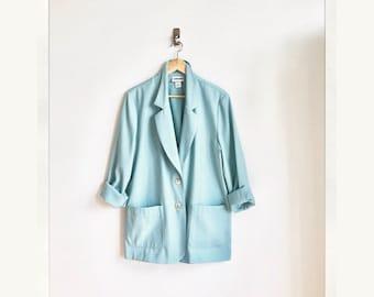 Sage Green Slouchy Vintage Blazer / Mint Green Oversized Jacket / Pastel Sage Mint Blazer