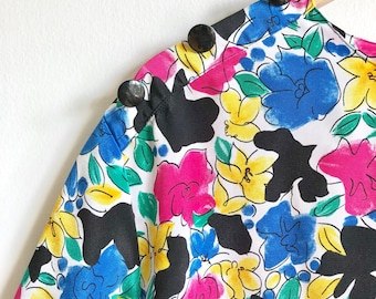 Bold Floral Vintage Top / Rad and Colorful Slouchy Blouse / Vintage Rainbow Floral Blouse