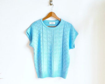 Periwinkle Blue Vintage Sweater / Sleeveless Summer Sweater / 70s Vintage Textured Knit Sweater