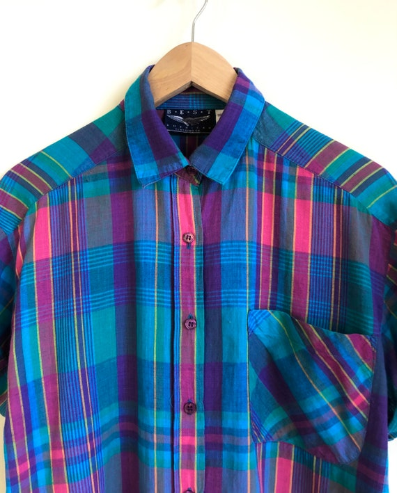 Rainbow Madras Plaid Blouse