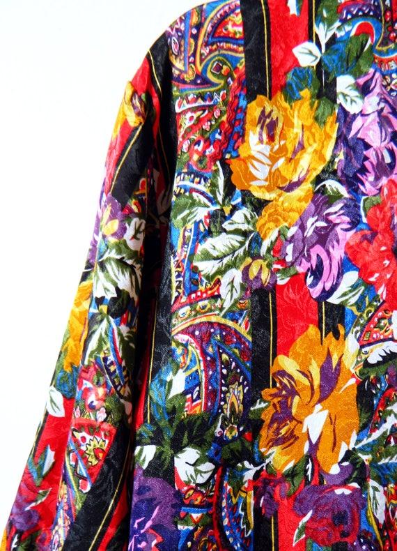 Vintage Bold Floral Tunic / 80s Romantic Button Do