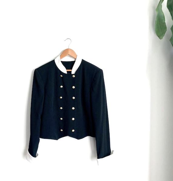 Vintage Statement Blazer / Black Mariner Style Fou