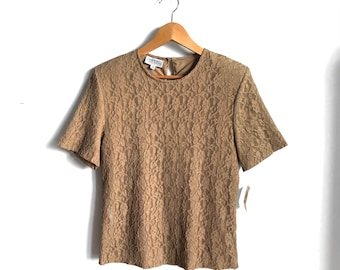 Vintage Deadstock Marshall Fields Lace Statement Blouse / Mocha Chartreuse Lacy 90s Lined Top