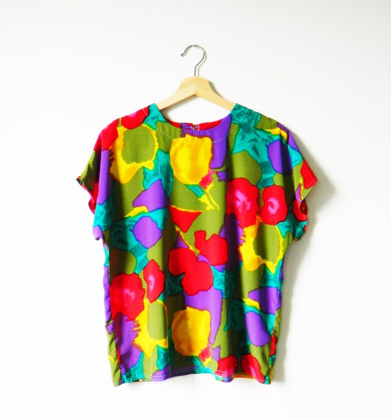Abstract Floral Vintage Boxy Blouse / Crazy Colorf