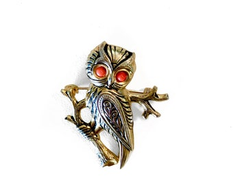 Vintage Owl Brooch / Retro 70s Pin / Vintage Statement Jewelry