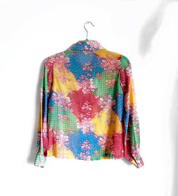 Rainbow Floral Patchwork Blouse / Semi Sheer 1970… - image 4