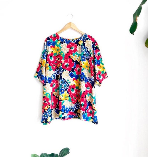 Bold Floral Boxy Blouse / Vintage Rainbow Floral O