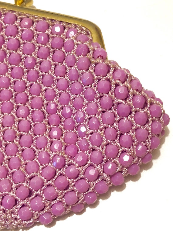 1950s Beaded Purse in Radiant Orchid / Vintage Coi