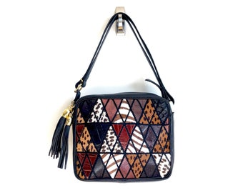 Italian Leather Vintage Crossbody Purse / Made in Italy / Leather Geometric Diamond and Triangle Bag / Bold Statement Shoulder Bag / NOS