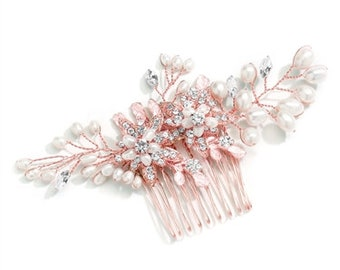 Crystals Fresh Water Pearls Prom Bridesmaids Special Event- FREE DOMESTIC SHIPPING Rose Gold or Silver Flowers Brides