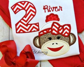 Sock Monkey shirt and bow- Sock monkey birthday shirt- Girl sock monkey- Birthday Sock Monkey shirt- Birthday girl- Monogram shirt- Custom