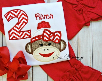 Sock monkey shirt or bodysuit with matching ruffle pants- Girl Sock Monkey birthday- Sock Monkey shirt- Ruffle pants- Birthday Girl- Monkey
