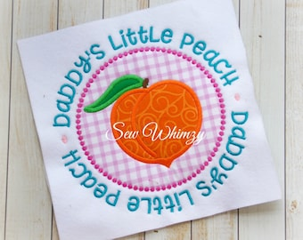 Peach shirt  or bodysuit- Daddy's little peach shirt- Daddy's girl- Georgia Peach- Girl's Monogram shirt- Girl Applique Peach shirt- Peach