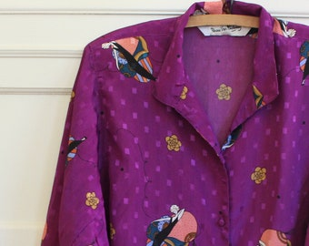 Vintage DVF Diane Von Furstenberg Art Deco Printed Purple Silky Designer Button Up Wide Sleeve Blouse Women's Size S M